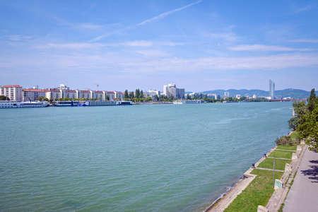 Danube river and Vienna skyline in summer. Austria