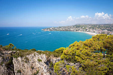 Panoramic landscape of Serapo Beach, one of the most beautiful sand beaches of the Mediterranean Sea. Gaeta, Italy
