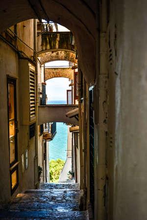 small street in the suggestive historic center of Sperlonga, Latina. Italy