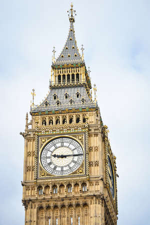 Close-up of the clock face of Big Ben, London. UK