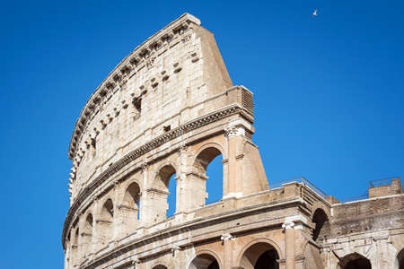 Architectural details of the Coliseum in Rome, Italy. Rome ancient arena of gladiator fights. 写真素材