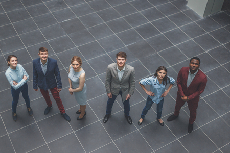 Portrait Of Business Team in Office, high angle
