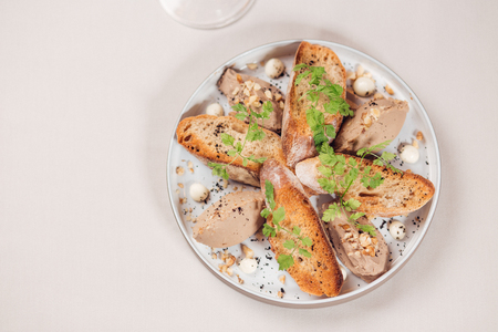 Goose liver pate. Foie gras pate with toasts Stock Photo