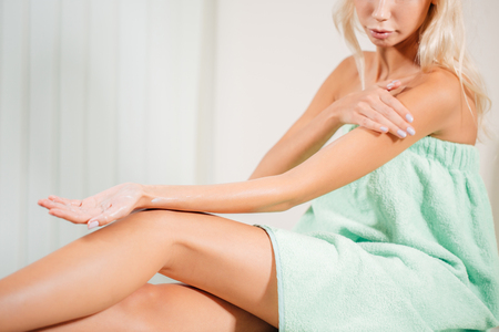 Woman Body Care. Close Up Of Long Female Legs With Perfect Smooth Soft Skin Stock Photo