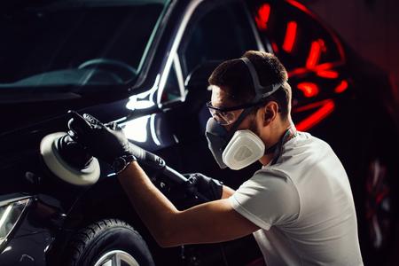 series of detailed cars: Polishing a car 写真素材