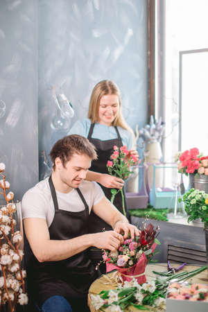 cooperative work of two florists Stock Photo