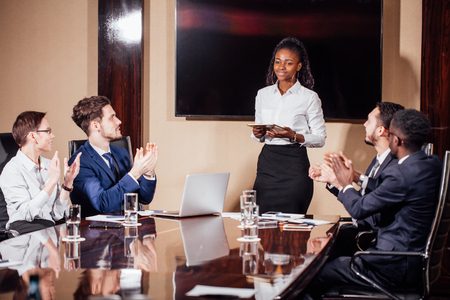 Businesswoman Leads Meeting Around Table Shot Stock fotó