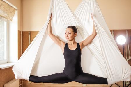 the beauty of antigravity yoga Stock Photo
