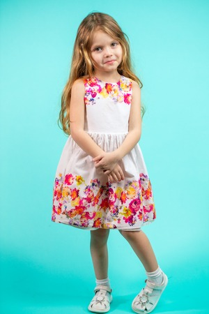 Beautiful little girl with long blond hair standing on a blue background Stock Photo