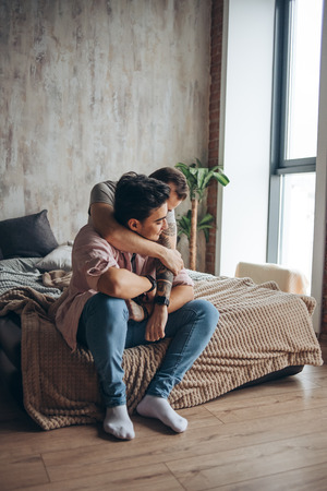 Gay couple at home, intimate moments of private life - Homosexual partners Stock fotó