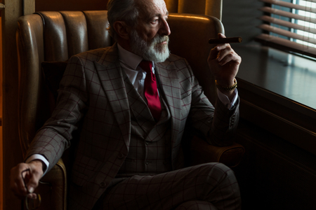 Serene concentrated mature male architector with grey-haired beard smoking cigar