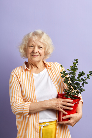 Active senior woman smiling at camera keeping potted plant in terracotta pot in hands. Aged female gardener planting flower in pot