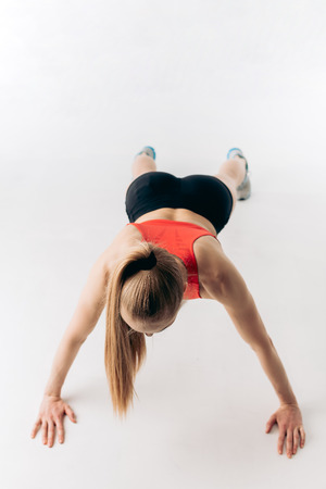 young active girl is taking part in sport competition. handstand Stock Photo