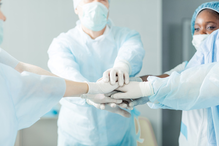focus on doctors hands. team and unity concept.close up cropped photo. Stock Photo