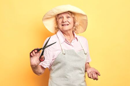 professional old smiling gardener or florist in apron holding scissors isolated on yellow background. garden design and business concept