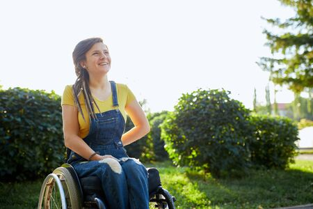 Disabled nice kind cute girl expresses positive emotions and feelings. close up portrait.