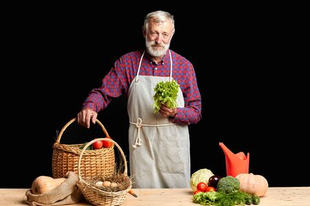 Tired gray-haired man with beard, came from his farm after long working day, taking out freshly picked up lettuce, tomatoes, eggplant, pumpkins, cucumbers, cabbage and some eggs in the basket.