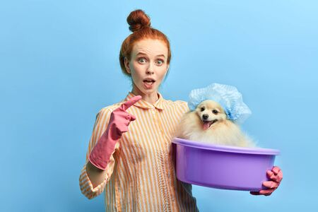 puzzled funny girl taking part in the reality show, woman advertising shampoo. attractive ginger girl giving advice of caring a pet.isolated blue background, studio shot Stock Photo