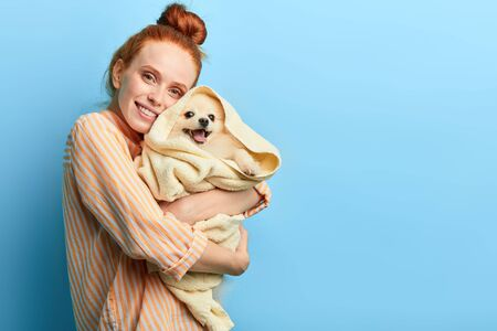 cute ginger smiling girl embracing her dog, pet lover holding dog after taking a shower. close up portrait, isolated blue background, studio shot.copy space