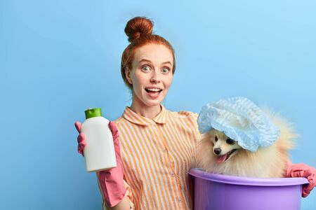happy positive excited girl with hairbun is satisfied with new shampoo for dogs, isolated blue background, studio shot. best choice of soap liquid Standard-Bild