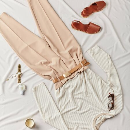 fashionable smart clothing has been prepared for vacation, top view photo.