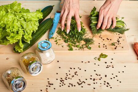 Studio shot of womans hands making fresh tasty salad out of lush green vegetables, using lots of spices, pepper, raw organic products, cooking healthy dinner for her big family. Stockfoto