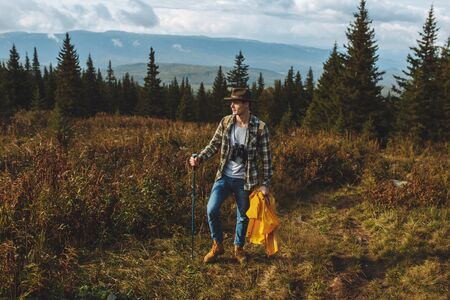 young hiker exploring new place, full length photo. pastime, holiday, weekend Stock fotó