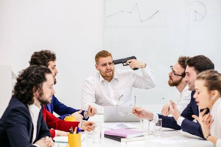 unhappy swearing caucasian people worried about troubles, having finance problems at work, everyone lose their nerves because of deadline, feel depressed