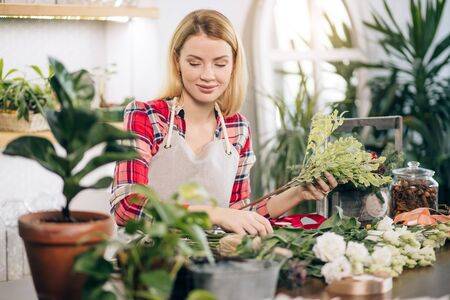 young attractive gardener at work, take care of green plants, enjoy working with flowers, isolated in room full of flowers and plants, botany concept Stock Photo
