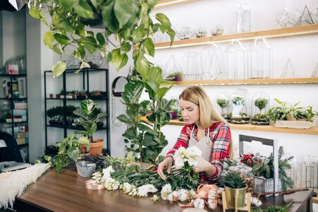 good-looking attractive woman florist entrepreneur shopkeeper holding flowers, plants, making beautiful bouquet for customer in her own shop