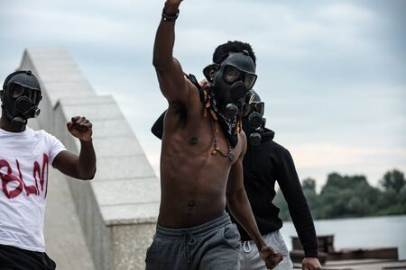 crazy aggressive black men protest, blm concept. anti-black racism is rapidly worsening all over the world