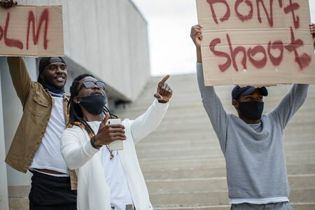 black people all over the world showed up for rallies to show their solidarity with the Black Lives Matter movement. they want to be heard, fight with injustice Stock fotó