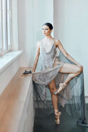 Awesome talented ballerina in scenic dress from airy voile working out in empty hall waiting for his time to step out on stage Reklamní fotografie