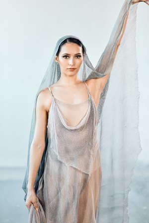 Portrait of professional ballet dancer in flowing fabric dress and head covered with airy voile posing after the performance. Art concept.