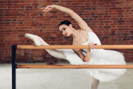flexible beautiful woman doing ballet pose in front of the barre. classical ballet, woman is keen on dancing