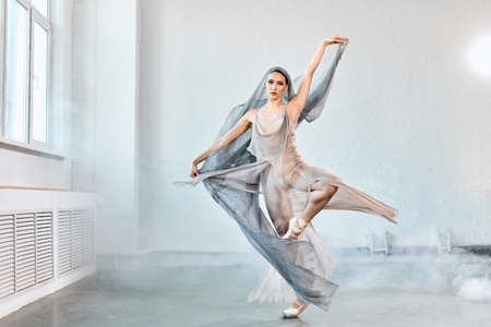 Female ballet dancer with white flowing fabric. Flow shapes and movement in the studio on white smoky background. Reklamní fotografie