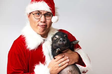 Asian Santa Claus in Christmas suit holding little black pig and looking at camera with funny grimace isolated over white. Christmas celebration poster