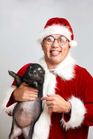 Happy Asian man in spectacles and Santa Claus suit holds black little piggy in hands smiling broadly at camera wishing Merry Christmas, isolated over white background with copy space.