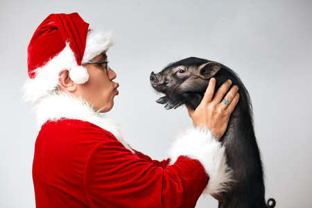 Profile shot of Asian Santa Claus in Christmas suit holding little black mini pig planning to kiss it, isolated over white background with copy space