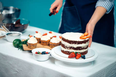 Cropped image of woman hands decorating chocolate cake with berries 免版税图像