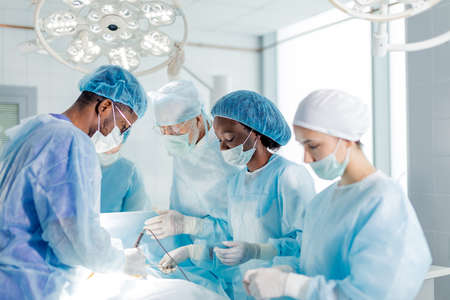 hardworking multiracial doctors specializing in the medical field.side view photo