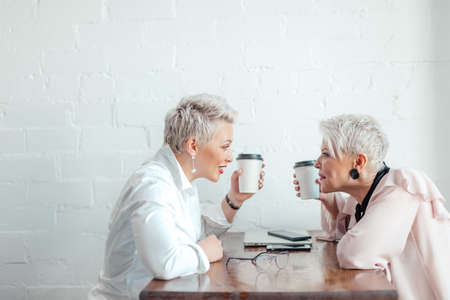 Two Businesswomen Meeting Around Table In cafe