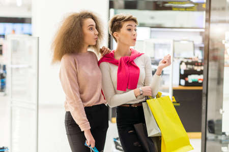 Portrait of two young woman shopping. Archivio Fotografico