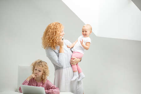 mother teaching daughter background.