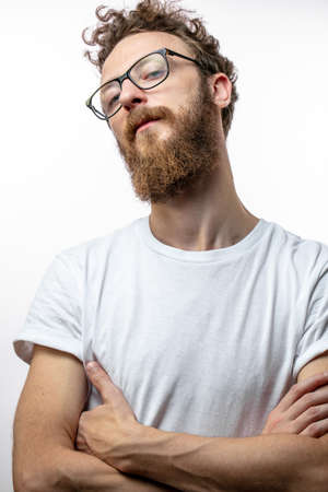 Man wearing glasses close up background.