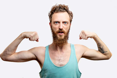 Man showing muscles background.