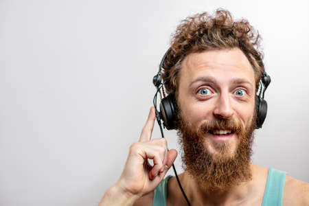 Man wearing headphone background.