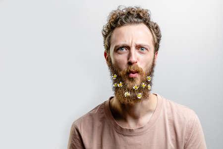 Man expression close up background. 免版税图像