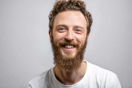 Smiling man close up background.
