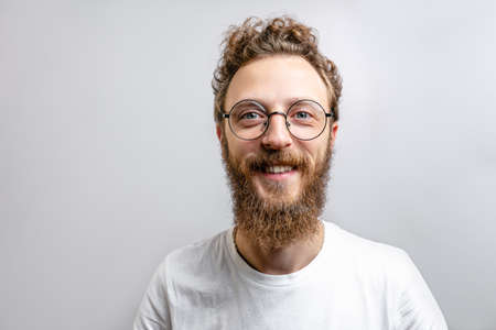Man wearing glasses background.